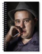 Big Mob Boss Smoking Cigarette Dark Background Spiral Notebook