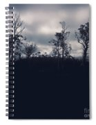 Black Silhouette Trees In Spooky Tasmanian Forest Spiral Notebook