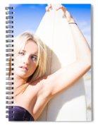 Blond Sports Girl Holding Surfboard Spiral Notebook