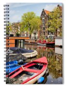 Boats On Canal In Amsterdam Spiral Notebook