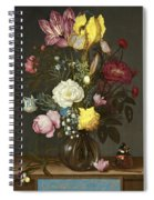Bouquet Of Flowers In A Glass Vase Spiral Notebook