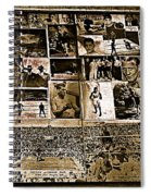 Boxing Collage Virginian Hotel Saloon Medicine Bow Wyoming 1971-2008 Sepia Toned Spiral Notebook