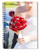 Bride Holding Red Rose Flower Bunch Spiral Notebook