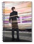 Business Man At Train Station Railway Platform Spiral Notebook