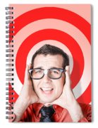 Business Man In Fear On Target Background Spiral Notebook
