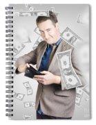 Businessman Under Falling Money. Financial Success Spiral Notebook