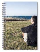 Caucasian Traveler Relaxing On Grass Outdoors Spiral Notebook