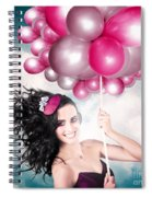 Celebration. Happy Fashion Woman Holding Balloons Spiral Notebook