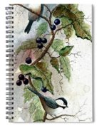 Chickadees And Blueberries Spiral Notebook