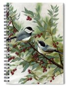 Chickadees And Cherries Spiral Notebook