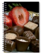 Chocolate On Plate With Strawberry Spiral Notebook