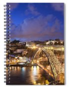 City Of Porto In Portugal By Night Spiral Notebook