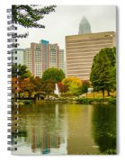 City Skyline In Fog And Rainy Weather During Autumn Season Spiral Notebook