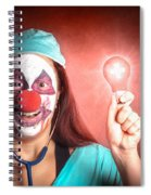 Clown Doctor Holding Red Emergency Lightbulb Spiral Notebook