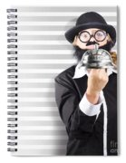 Comic Business Man Holding Big Service Bell Spiral Notebook