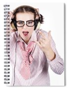 Cool Music Nerd Rocking Out To Metal On Headphones Spiral Notebook