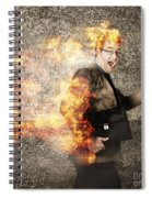 Crazy Businessman Running Engulfed In Fire. Late Spiral Notebook