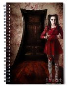 Creepy Woman With Bloody Scissors In Haunted House Spiral Notebook