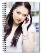 Cute Sales Woman Discussing Business Deal On Phone Spiral Notebook