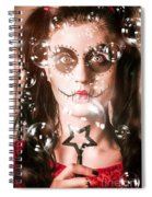 Day Of The Dead Girl Blowing Party Bubbles Spiral Notebook