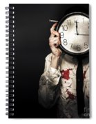 Dead Business Person Holding End Of Time Clock Spiral Notebook