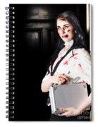 Dead Female Zombie Worker Holding Briefcase Spiral Notebook