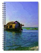 Digital Oil Painting - A Houseboat Moving Placidly Through A Coastal Lagoon In Alleppey Spiral Notebook