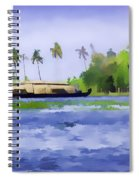 Digital Oil Painting - A Houseboat On Its Quiet Sojourn Through The Backwaters Of Allep Spiral Notebook