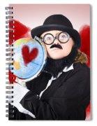 Eccentric Man Showing World Love By Cuddling Globe Spiral Notebook