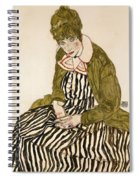 Edith With Striped Dress Sitting Spiral Notebook