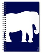 Elephant In Navy And White Spiral Notebook