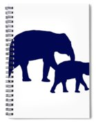 Elephants In Navy And White Spiral Notebook