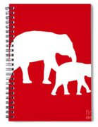 Elephants In Red And White Spiral Notebook