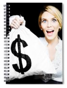 Euphoric Business Woman Holding Unexpected Windfall Spiral Notebook