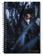 Evil Man Hiding In Silence At Dark Forest  Spiral Notebook