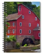 Faded Red Water Mill On The Dam Of The Raritan River Spiral Notebook