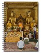 faithful Buddhists praying at Buddha Statues in SHWEDAGON PAGODA Spiral Notebook