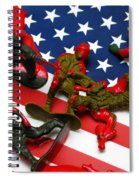 Fallen Toy Soliders On American Flag Spiral Notebook