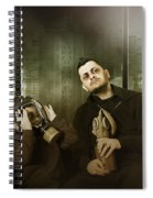 Father And Son In Gasmask. Nuclear Terror Attack Spiral Notebook