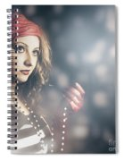 Female Fashion Model Holding Jewelry Necklace Spiral Notebook