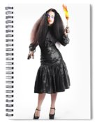 Female Jester Holding Lit Fire Torch Spiral Notebook
