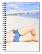 Female Vacationer Relaxing At Tropical Paradise Spiral Notebook