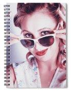 Fifties Glamor Girl Wearing Retro Pin-up Fashion Spiral Notebook