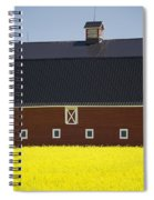 Front Of A Red Barn In A Flowering Spiral Notebook