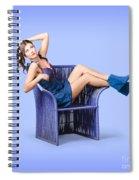 Full-length Portrait. Lovely Woman In Denim Dress Spiral Notebook
