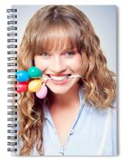 Fun Party Girl With Balloons In Mouth Spiral Notebook