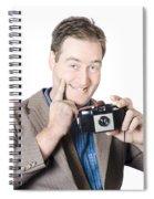 Funny Man Gesturing Big Smile With Vintage Camera Spiral Notebook
