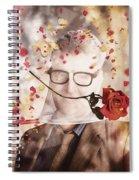Funny Valentine Nerd Caught In Net Of Romance  Spiral Notebook