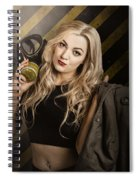 Gas Mask Pinup Girl In Nuclear Danger Zone Spiral Notebook