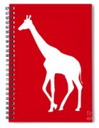 Giraffe In Red And White Spiral Notebook